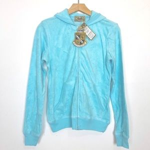 Deadstock Y2k Juicy Couture terrycloth hoodie blue